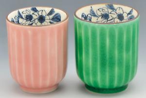 Yunomi Kyo Kiyomizu yaki porcelain Japanese tea cup set Cherry Blue and Pink