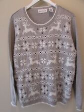 Alfred Dunner Women's Size XL Gray White Christmas Snowflake Reindeer Sweater