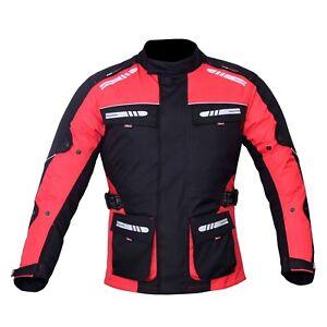 Motorrad Jacke Wasserdicht Textil Ce Schutzpolster Reflektoren Rot