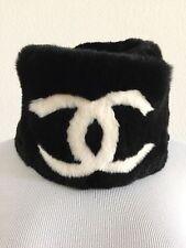 CHANEL Designer Black Lapin Fur White CC Logo Collar Scarf