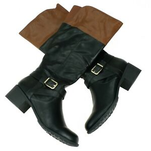 style&co womens riding boots size 8 M vanesa knee high faux leather black brown
