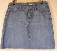 Mossimo M Medium Denim Jean Skirt Light Wash Modest Length Rough Edge 4 Pocket