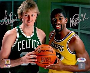 Larry Bird Celtics Magic Johnson Lakers Signed AUTOGRAPH 8 x 10 Photo PSA DNA