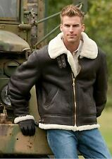 MEN'S AVIATOR RAF B3 SHEEPSKIN FUR SHEARLING LEATHER BOMBER FLYING JACKET