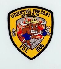 ARNOLD PENNSYLVANIA PA Fire Police DPS Patch CITIZENS VFD Co1 FLAMING BULL