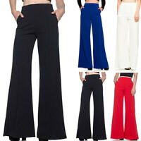 Women's High Waist Fashion Solid Loose Wide Long Trousers Flowing Palazzo Pants
