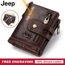 Genuine Leather Men Wallet Coin Purse Small Mini Card Holder Chain Male Pocket