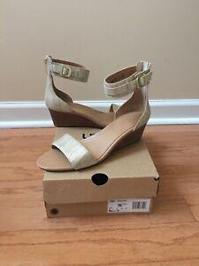 Authentic Women's Ugg Australia Char Metallic Wedge Sandals, Bronze, Size 10