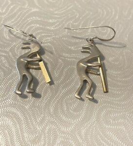 Vintage Sterling Silver Kokopelli Dangle Earrings