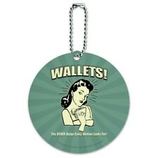 Wallets Other Bulge Woman Looks For Round Luggage ID Tag