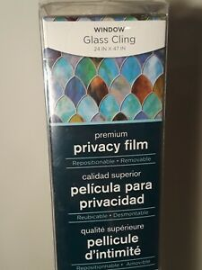 """Brewster Peacock Window Privacy Film Textured And Stained Glass Effect 24"""" x 47"""""""
