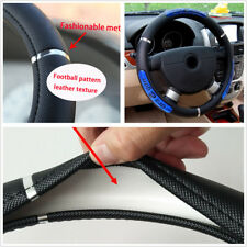 High Quality Non-Slip Steering Wheel Cover PU Leather Black Fabric + Blue Icon
