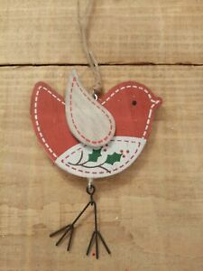 nordic style wood christmas robin hang decoration/present topper red