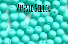 10 silicone AQUA BLUE 9mm beads round BPA free baby teeth safe nursing green