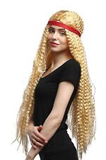 Perücke Damen Karneval Stirnband Hippie Blumenkind Goldblond gekreppt lang 75cm