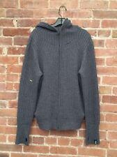 Y-3 Yohji Yamamoto Men's Hoodie Sweater, Ribbed Size Medium Gray, 100% Merino