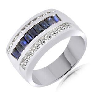 2.75CT Blue Sapphire & Diamond Engagement Wedding Band Ring 14K White Gold Over