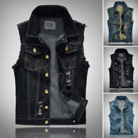 Jacket Causal Fashion Cool Jean Men's Vintage Vest Sleeveless Mens Denim Coat