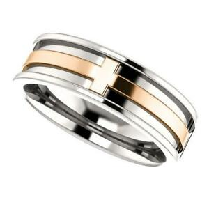 14k White and Rose Gold Cross Wedding Band Ring