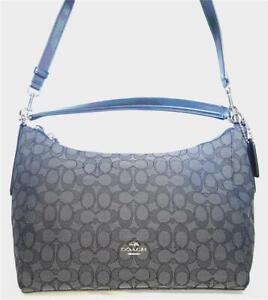Coach Outline Signature EW Celeste Hobo Handbag SVBlack/Smoke/Black F-54936 NWT