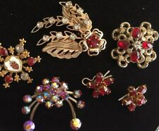 Lot 45 Vintage Costume Jewelry Brooch Pin Rhinestone Red Flower Scatter