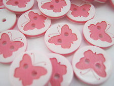 "10 Pink Butterfly Buttons 13mm (1/2"") Girls Clothing Pink Sewing Buttons"