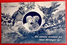 CPA. NID D'AMOUR. Carte Bleue. Couple. Oiseaux. Oiseau Casqué Flèche.