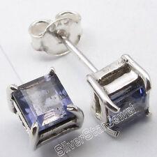 .925 Solid Silver Genuine CUT IOLITE 4-Prong ROYAL Studs Earrings 0.5 CM UNUSUAL