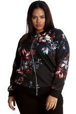 Ladies Jacket Plus Size Womens Floral Print Bomber Oriental Ribbed Nouvelle Black 22-24