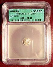 Rare Stunning c. 550 BC Silver Greek Diobol Miletus in Ionia ICG EF40!