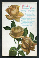 Posted C1920s Birthday Card: Yellow Roses: Best Wishes To My Daughter