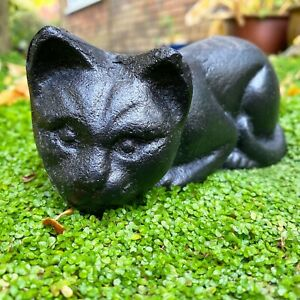 Cat Garden Ornament Black Cast Iron Animal Decoration