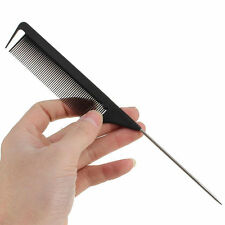 22cm Fine-tooth Metal Pin Hairdressing Hair Style Rat Tail Comb Salon Black