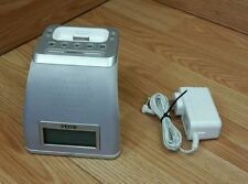 iHome (iP21) White & Gray Alarm Clock iPhone / iPod Speaker Dock w/ Power Supply