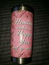 20 oz pink happy tumbler camo hunting