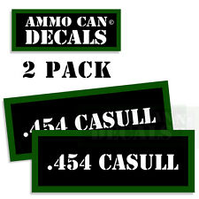 """454 CASULL  Ammo Can 2 Labels Ammunition Case 3"""" x 1.15"""" sticker decal 2 pack"""