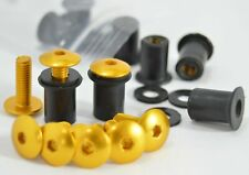 Dome Low Profile Windscreen Bolt Kit Gold Aluminum Screws, Bolts, Well Nuts.