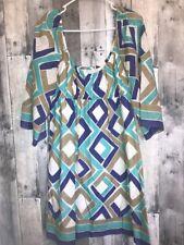 Trina Turk Silk Blend Colorful Sheer Bell Sleeve Tunic Swim Cover Dress 12