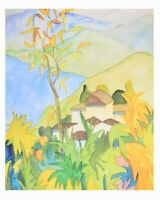 Hermann Hesse Dorf über dem See Poster Kunstdruck Bild 60x48cm