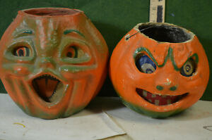 2 paper-mache Halloween pumpkins, both out of the 50's, both have paper masks,EX
