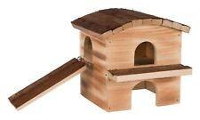 Melvin House Flamed & Natural Wood with Ramp & removable roof for Mice Hamsters