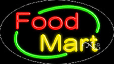 """NEW """"FOOD MART"""" 30x17 OVAL SOLID/FLASH REAL NEON SIGN w/CUSTOM OPTIONS 14518"""