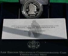2000 Leif Ericson US Mint Commem Proof 90% Silver Dollar Coin Box and COA Ship