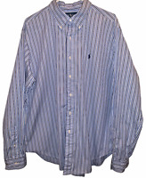 Polo Ralph Lauren Mens XL Classic Fit Button Down Dress Shirt Blue Striped