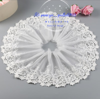 1 Yard Embroidered Floral White Tulle Lace Trim Ribbon Fabric Sewing Craft FL256