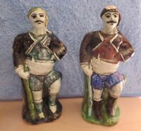 Russian Soldiers Ceramic Fighters Figurines Pair of (2) Statues Vintage