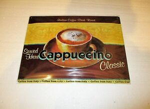 Cappuccino Coffee Embossed Tin Sign