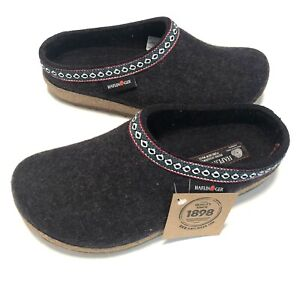 Haflinger Gz Grizzly Classic Graphite Unisex Size 41 Wool Slippers