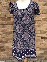 NEXT Dark Blue Paisley Print Dress Size UK 10 Blogger Work Office