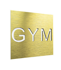 Home GYM Door Wall Sign - Metal Training Room Decal - Workout Signage Sticker